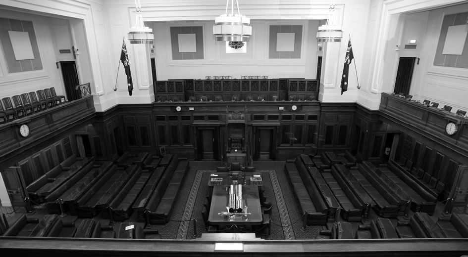 Black and white photo of the inside of the House of Representatives Chamber.