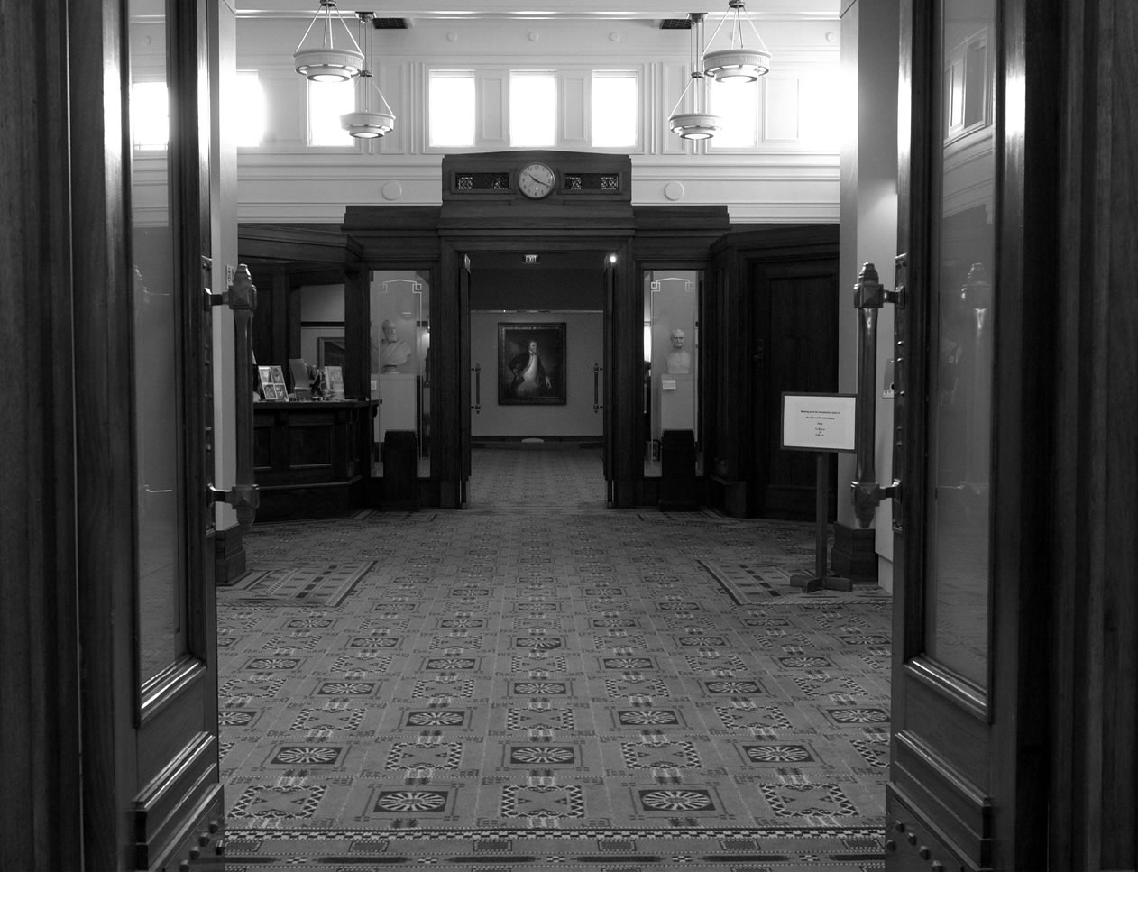 A black and white image of the former Parliamentary Library space on the main floor.