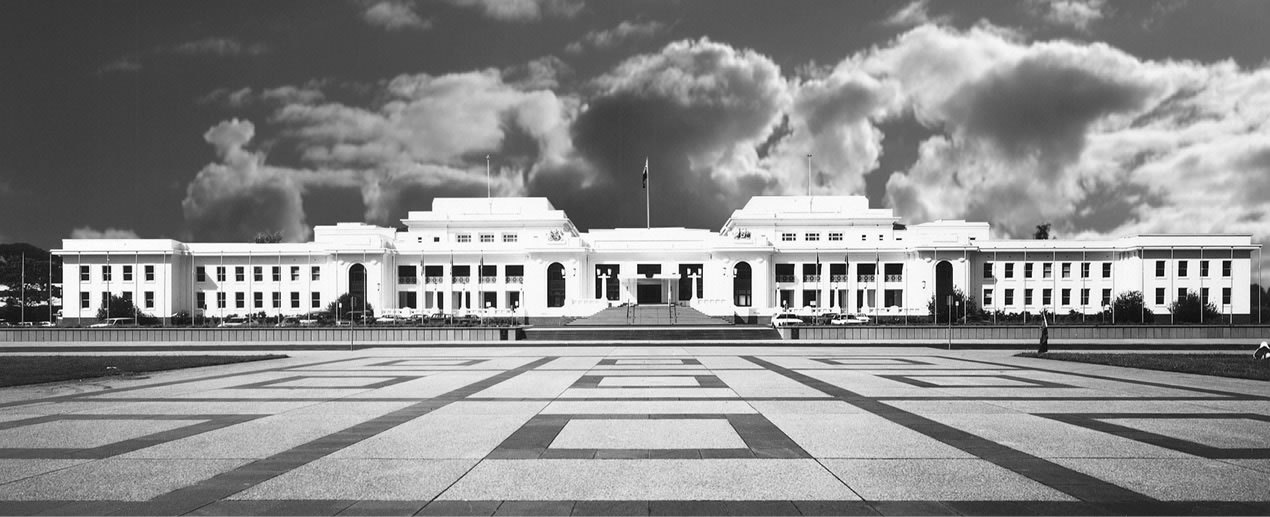 Black and white image of the front of Old Parliament House in 2003.