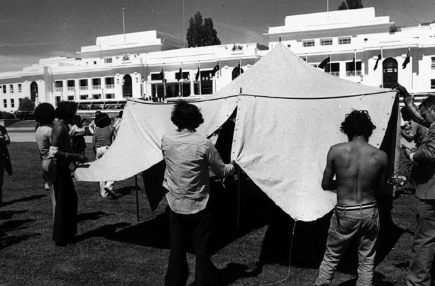 Black and white photo showing the Aboriginal Tent Embassy in 1972.