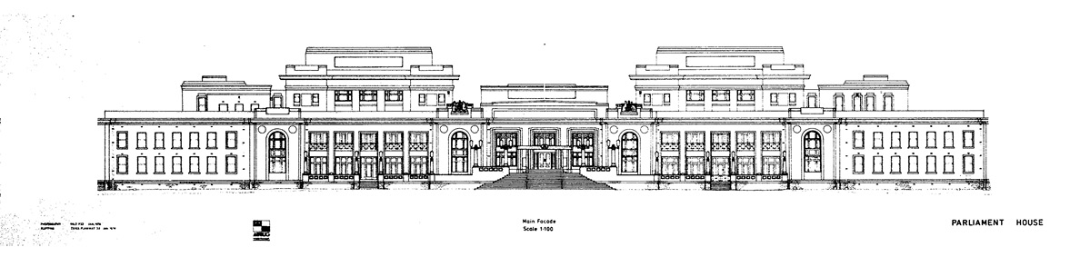 Black and white sketch showing the front of Old Parliament House, 1976.