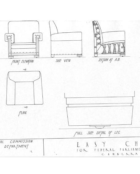 A drawing of the John Smith Murdoch FB37 easy chair showing front and side elevations, section and leg detail.