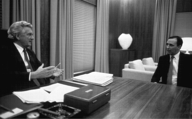 Black and white image showing Prime Minister Bob Hawke and Treasurer Paul Keating in the Prime Minister's Suite.