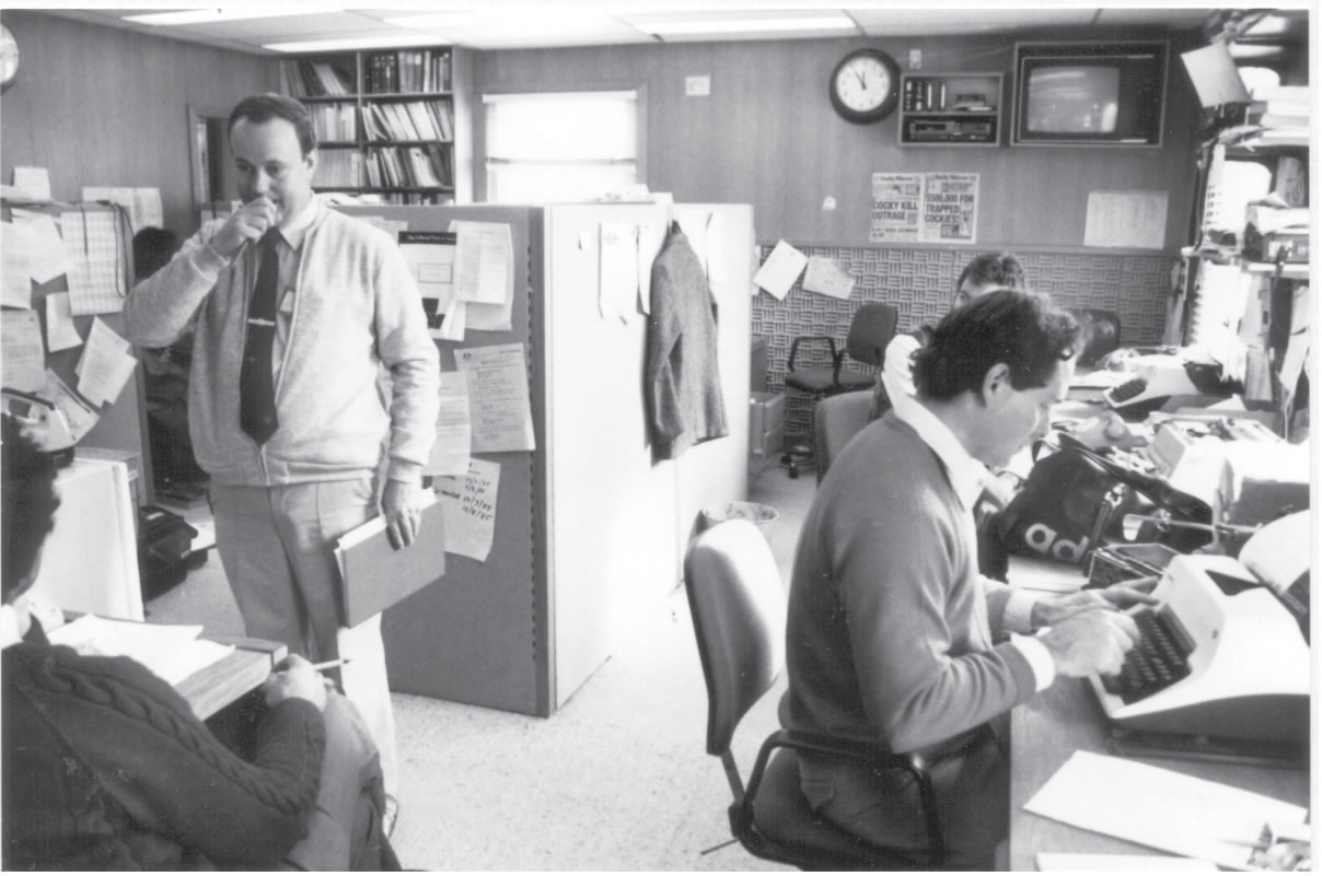 A black and white photo of the Press Offices in 1985.