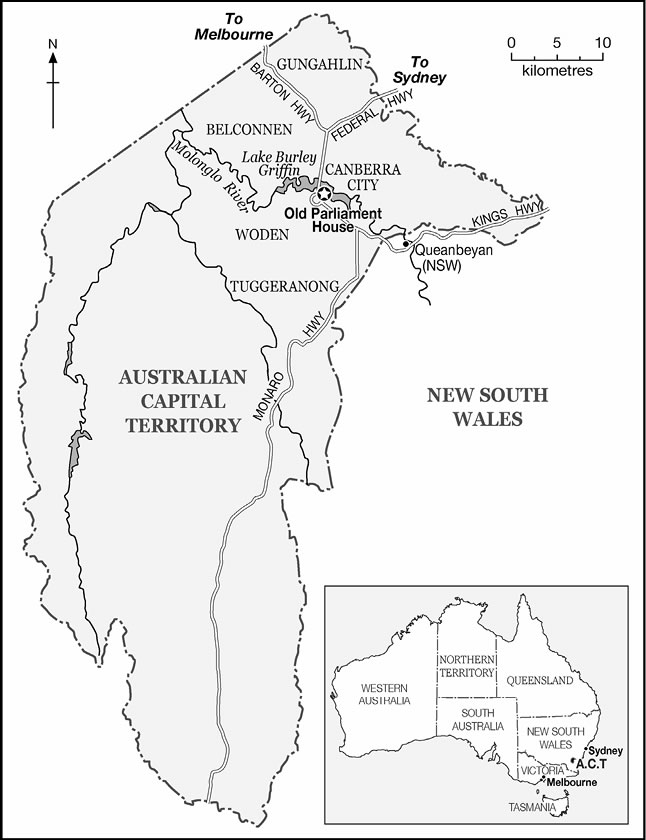 A map of the ACT showing the regions of Gungahlin, Belconnen, Canberra City, Woden and Tuggeranong.