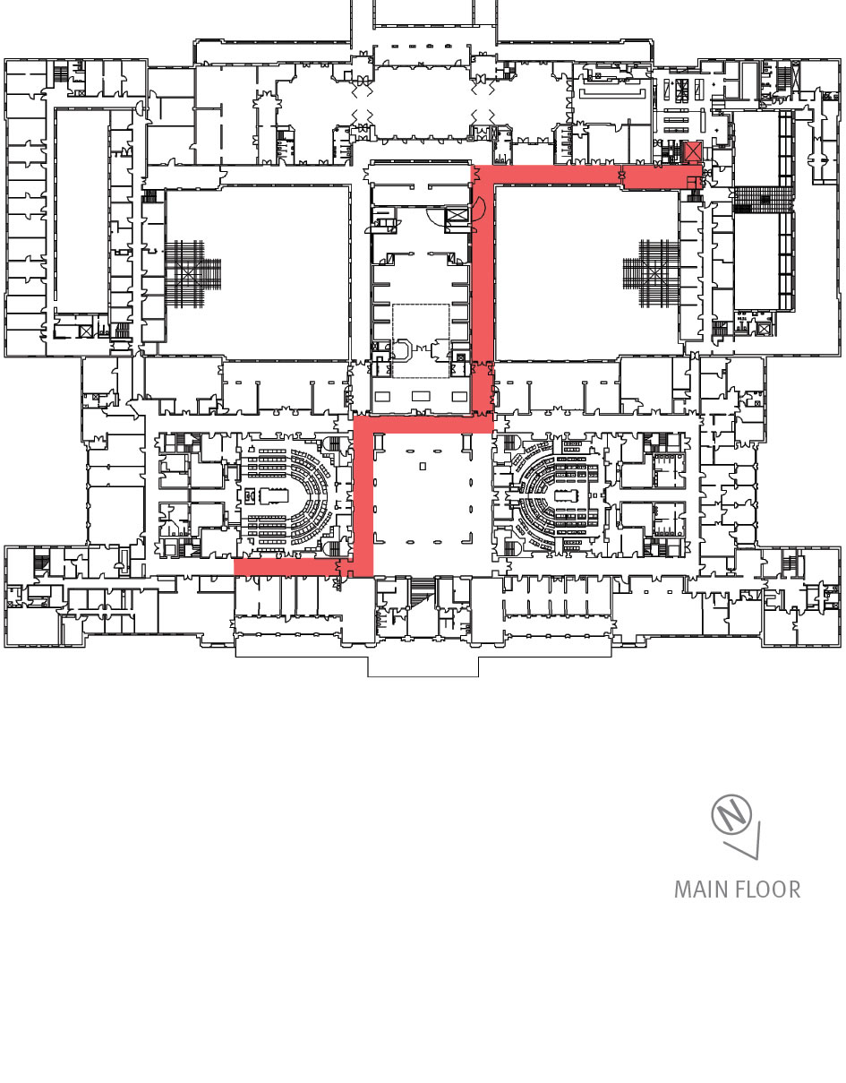 Floorplan showing access and egress points on the main floor.
