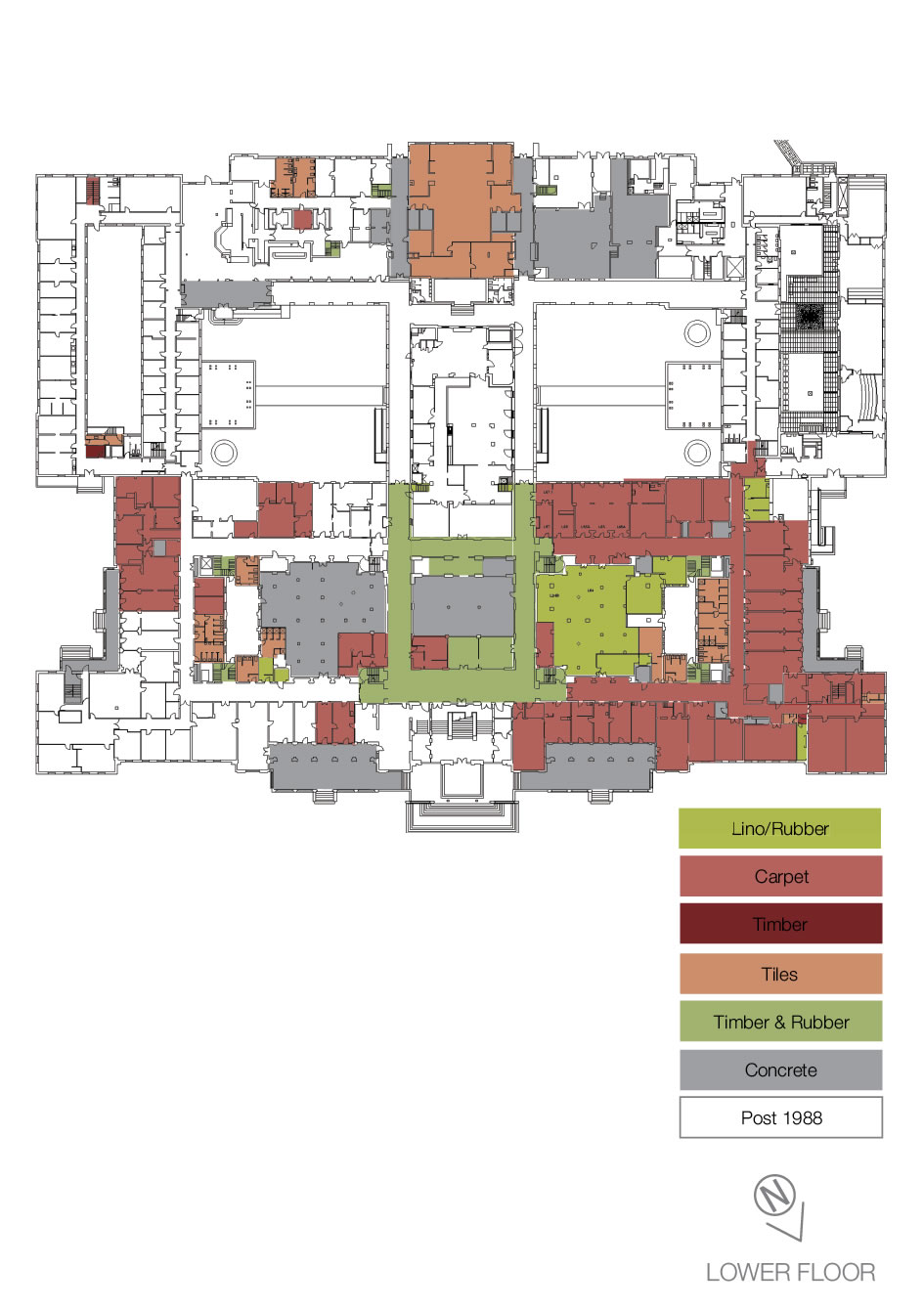 Floorplan showing the types of heritage floor coverings on the lower floor.