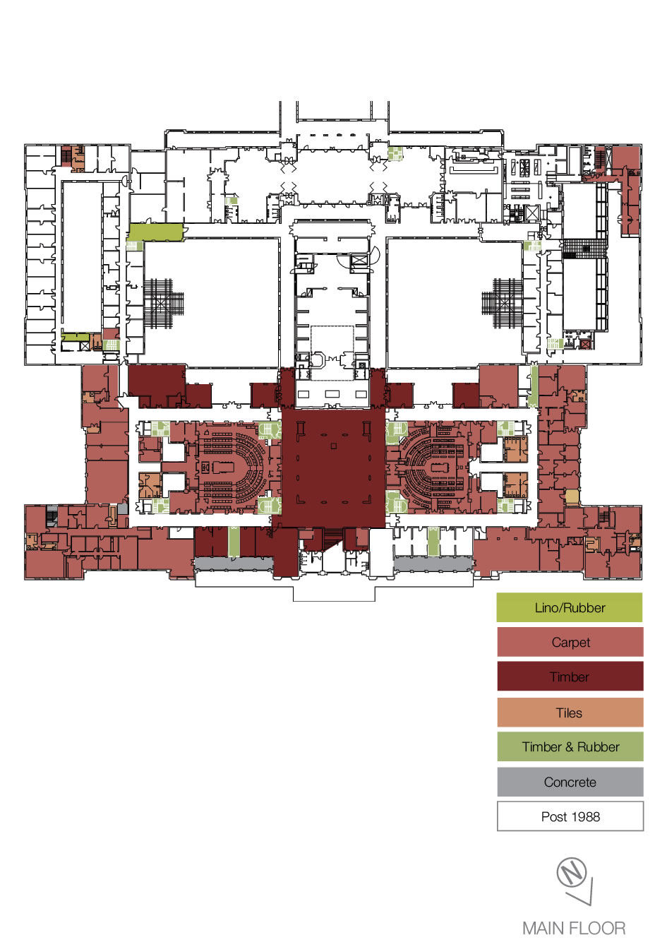 Floorplan showing the types of heritage floor coverings on the main floor.