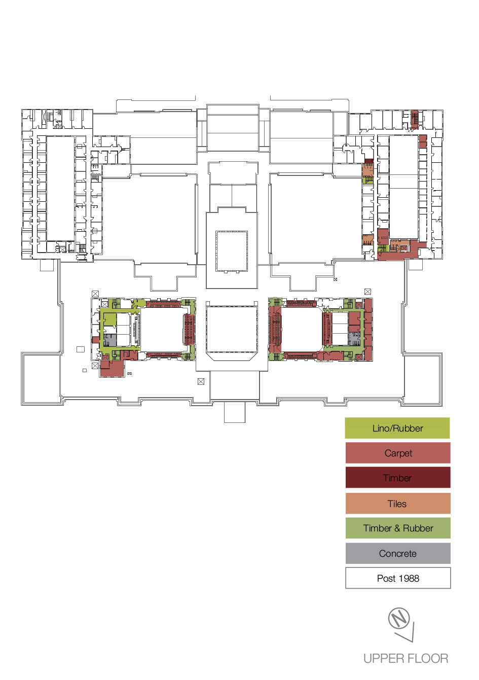 Floorplan showing the types of heritage floor coverings on the upper floor.