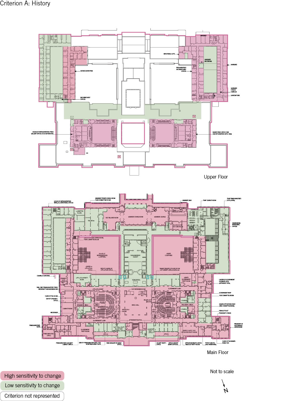 Old Parliament House upper and main floor plan showing the zones and their level of sensitivity to change.