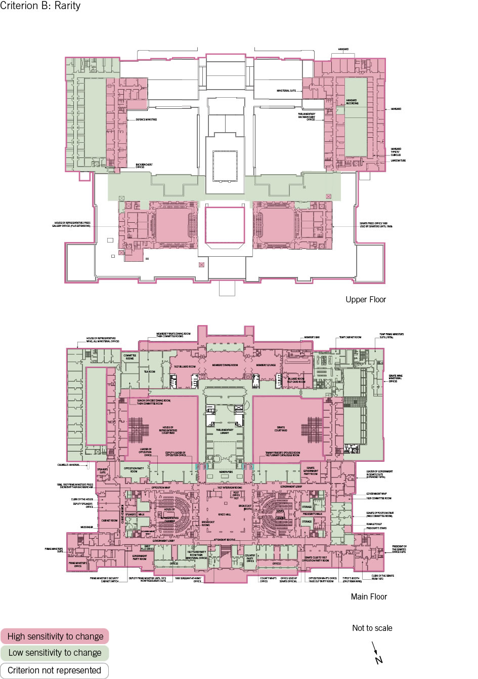 Old Parliament House upper and main floor plan showing the zones according to criterion B: rarity.