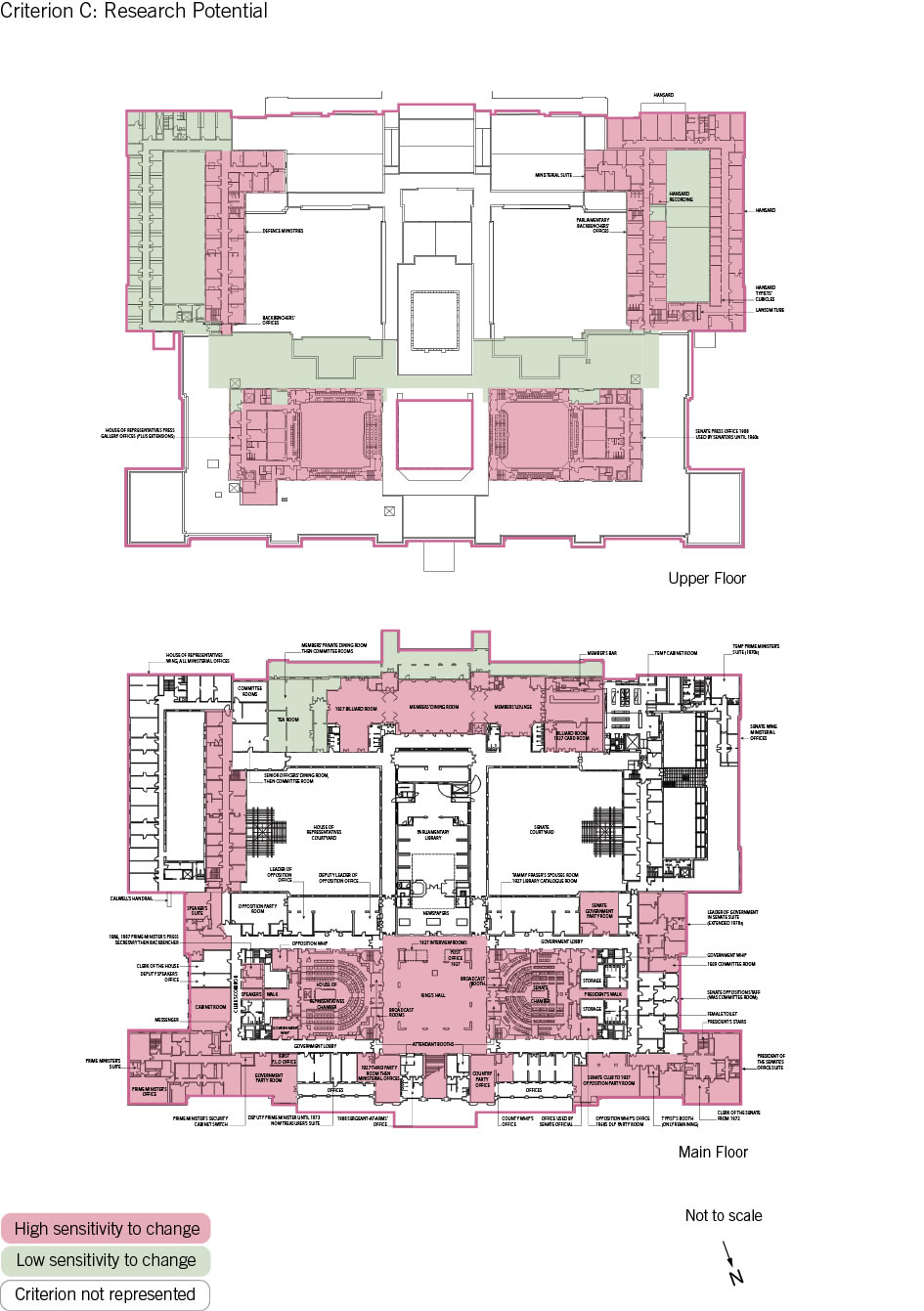Old Parliament House upper and main floor plan showing the zones according to criterion C: research potential.