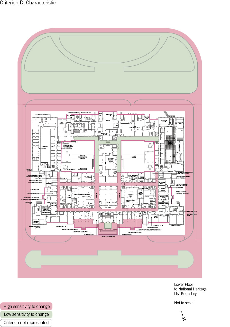 Old Parliament House lower floor plan showing the zones according to criterion D: characteristic.