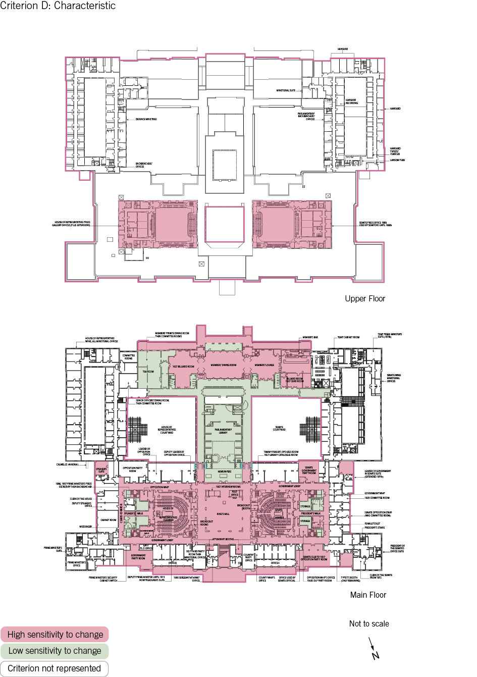 Old Parliament House upper and main floor plan showing the zones according to criterion D: characteristic.