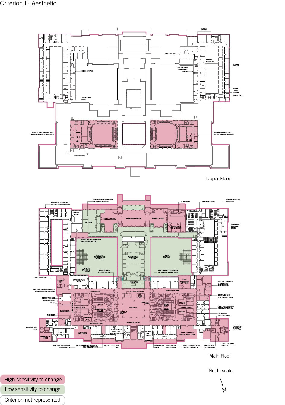 Old Parliament House upper and main floor plan showing the zones according to criterion E: aesthetic.