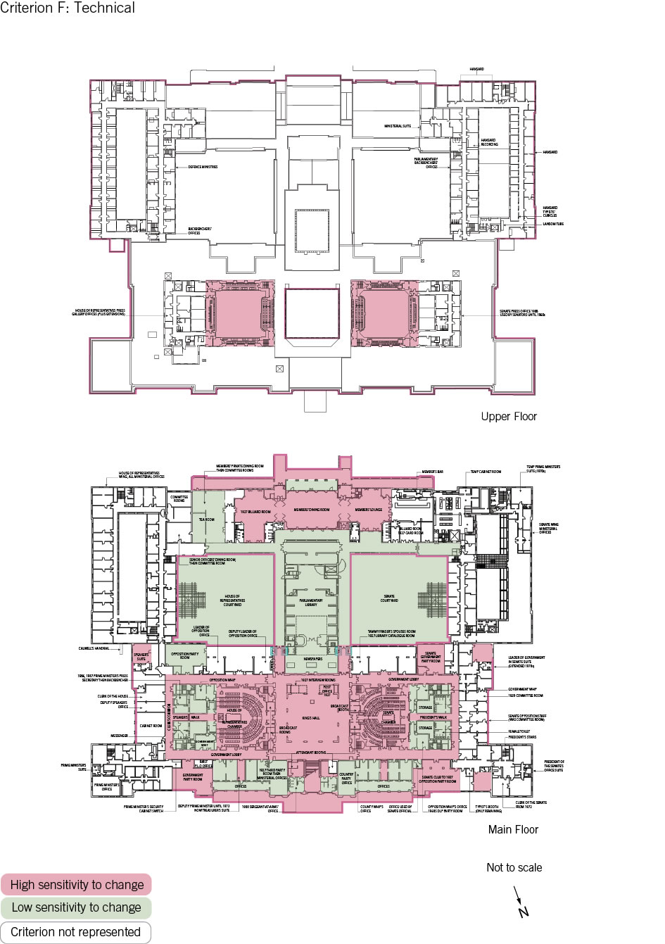 Old Parliament House upper and main floor plan showing the zones according to criterion F: technical.
