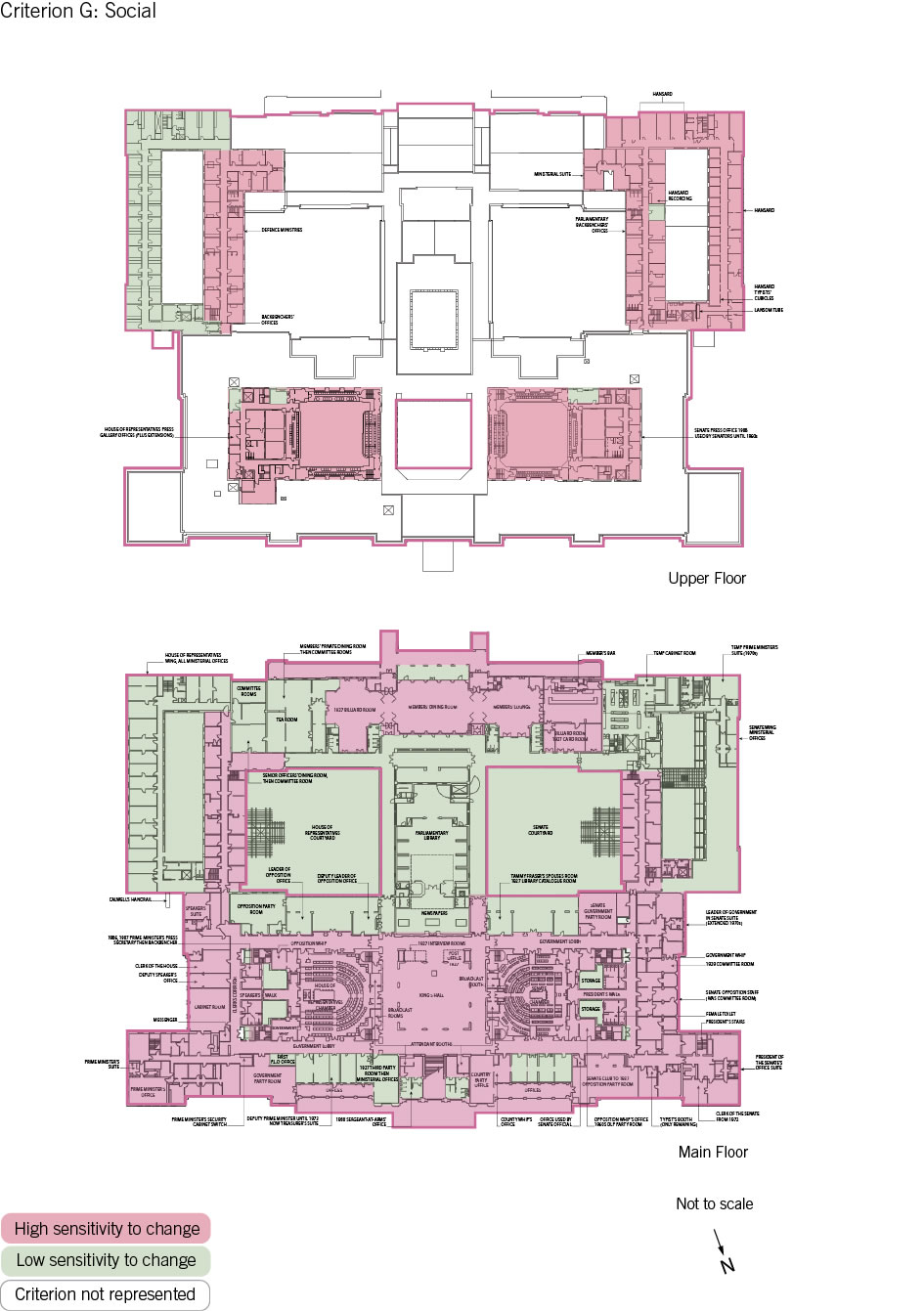 Old Parliament House upper and main floor plan showing the zones according to criterion G: social.