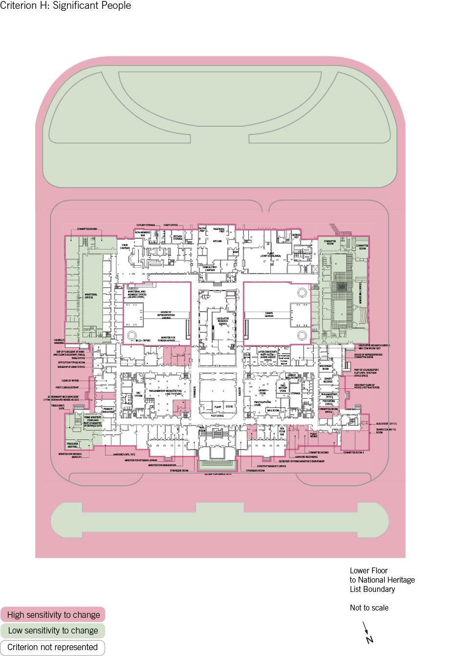 Old Parliament House lower floor plan showing the zones according to criterion H: significant people.