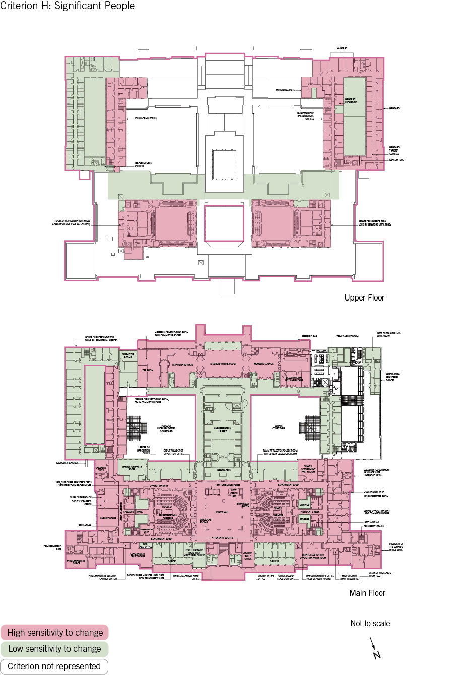 Old Parliament House upper and main floor plan showing the zones according to criterion H: significant people.