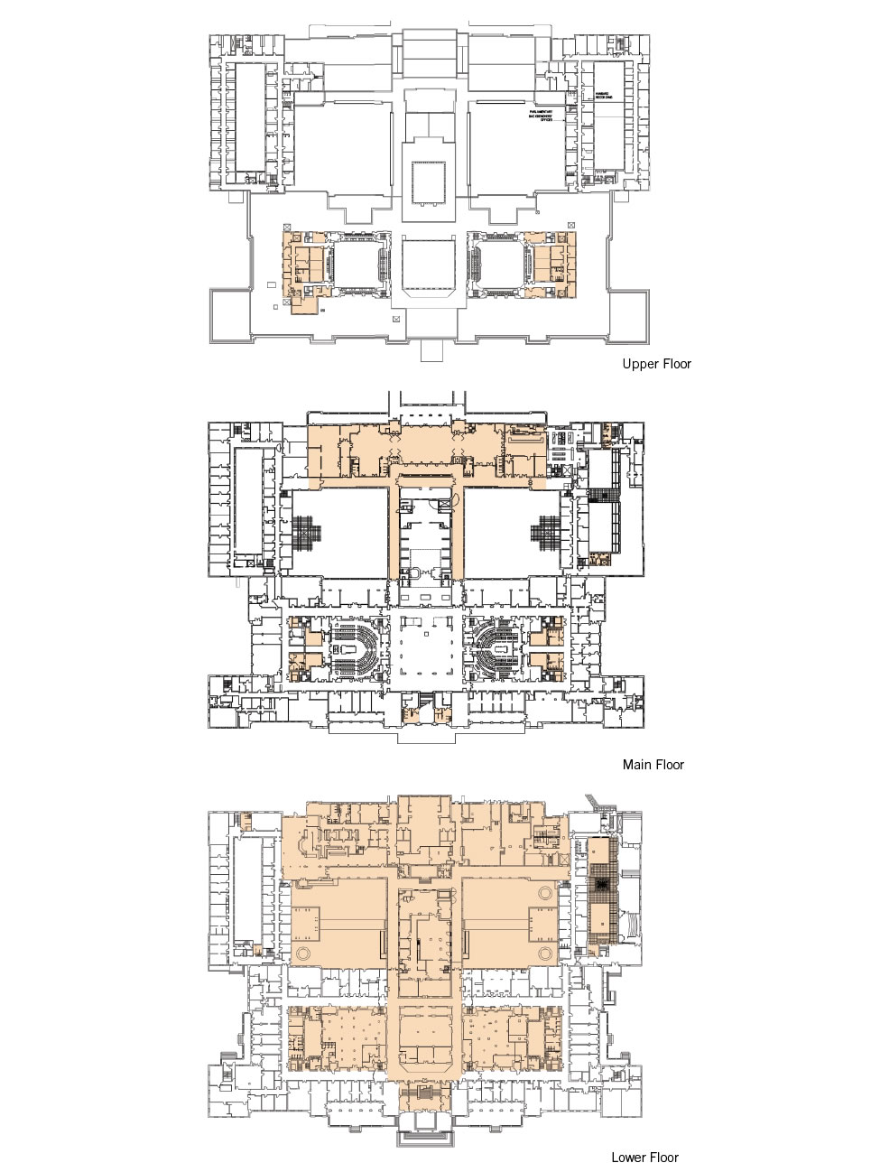 A floorplan of the upper, main and lower floors showing the ancillary functions zone.