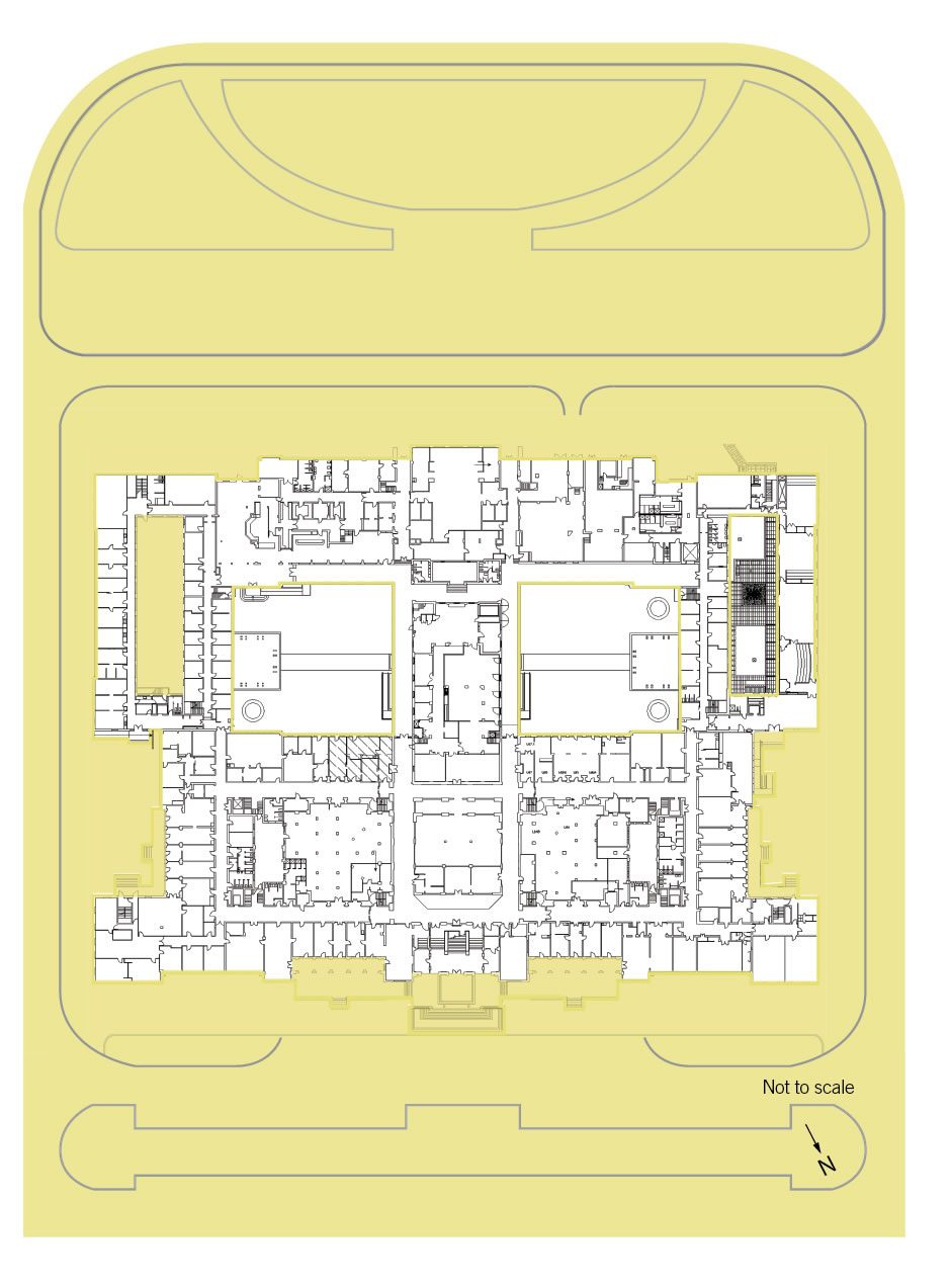 A floorplan of the loweer floor showing the landmark zone and curtilage.