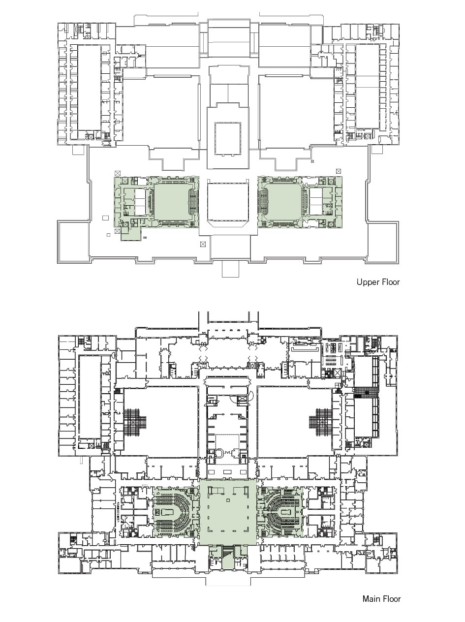 A floorplan showing the main and upper floor landmark zones.