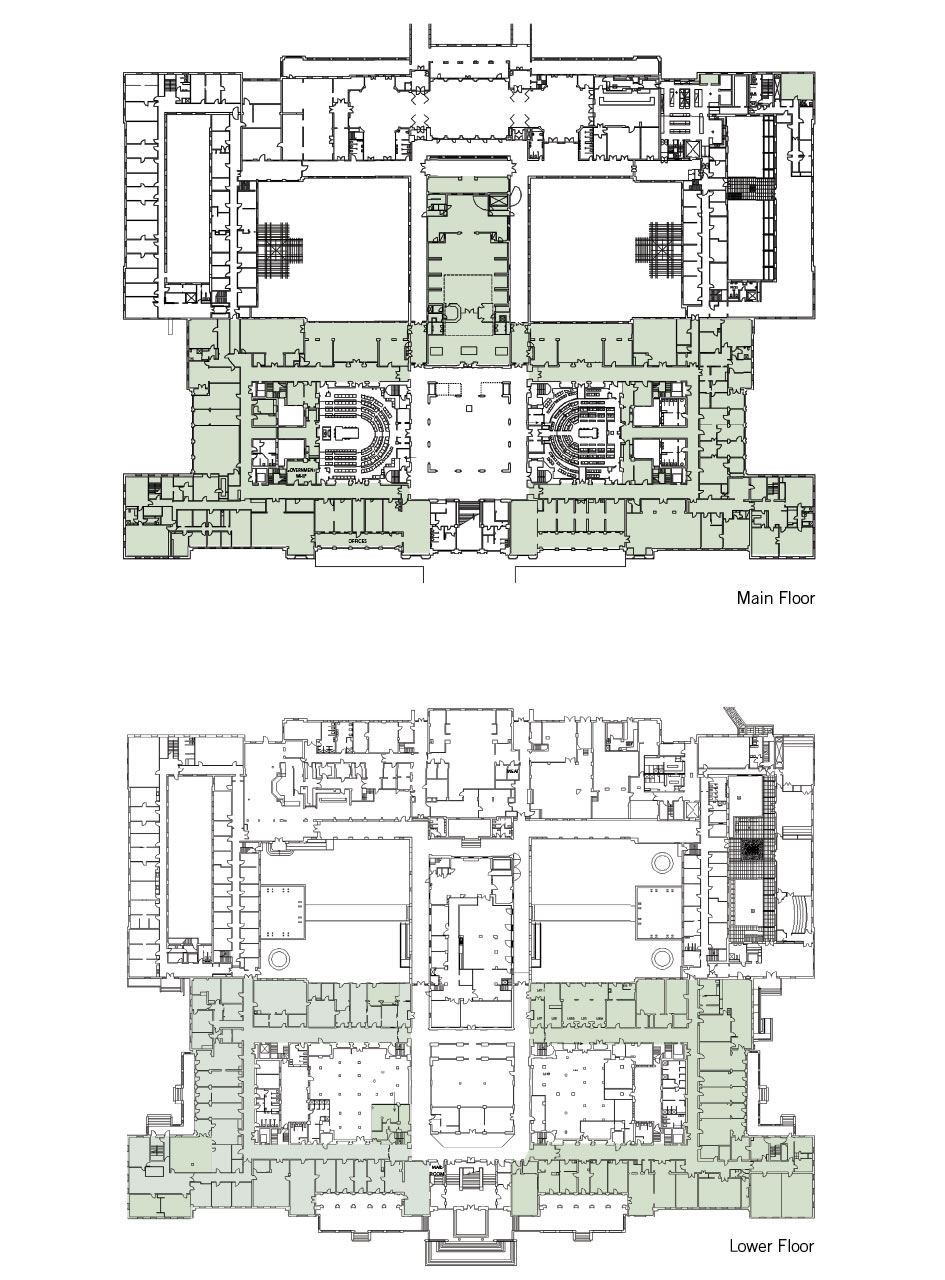 A floorplan showing the politics and party zones on the main and lower floors.