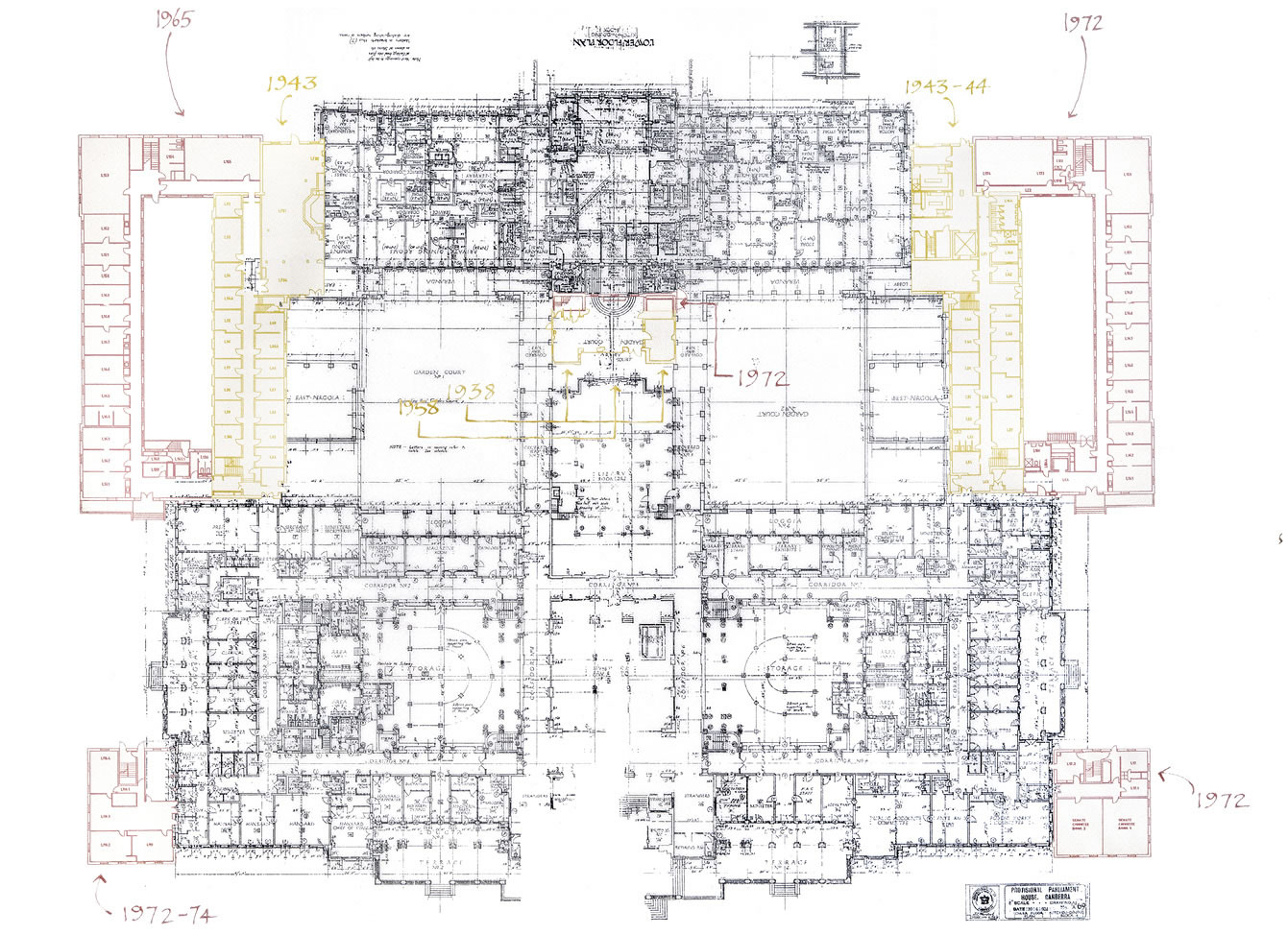 Plan drawing of the lower floor showing additions in 1938, 1943, 1943-44, 1958, 1965 and 1972-74.