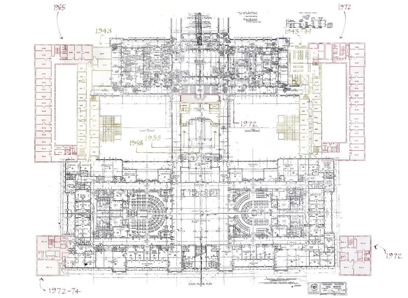 Plan drawing of the main floor showing additions in 1938, 1943, 1943-44, 1958, 1965 and 1972-74.