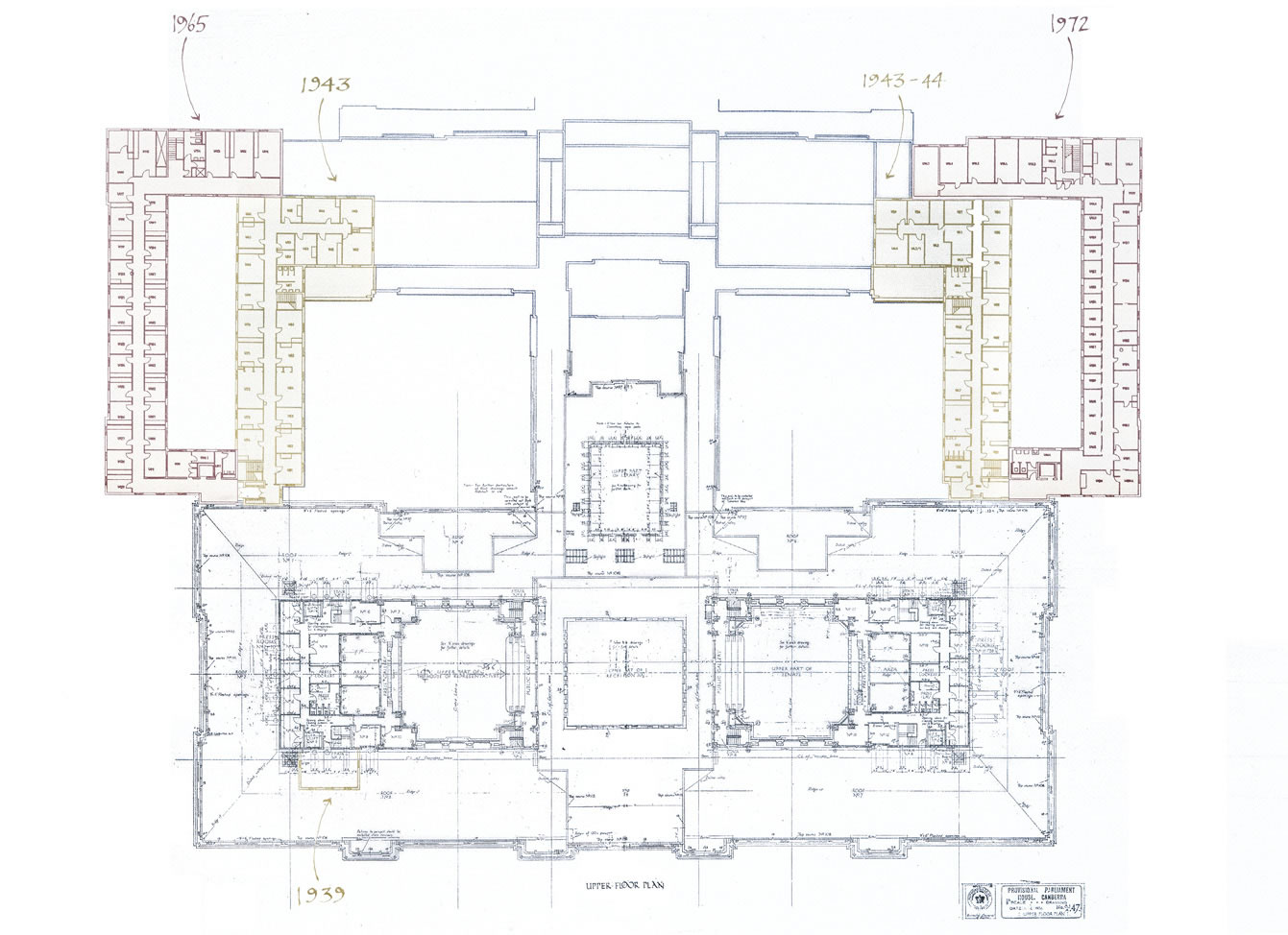 Plan drawing of the upper floor showing additions in 1939, 1943, 1943-44, 1965 and 1972.
