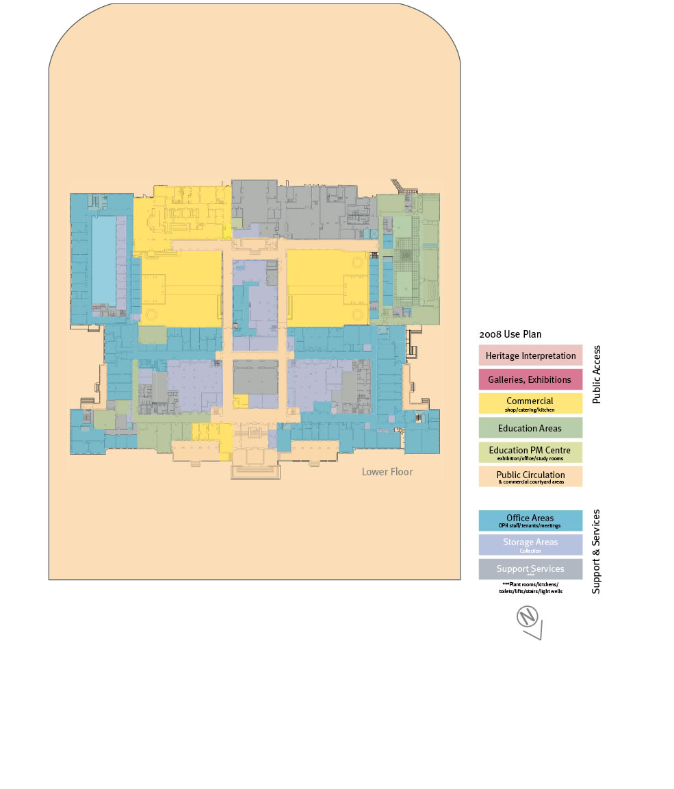 Floorplan of the lower floor showing the 2008 use plan.