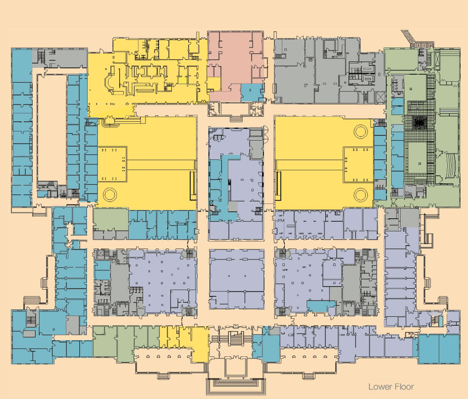 A floorplan showing the 2013 use plan, lower floor.