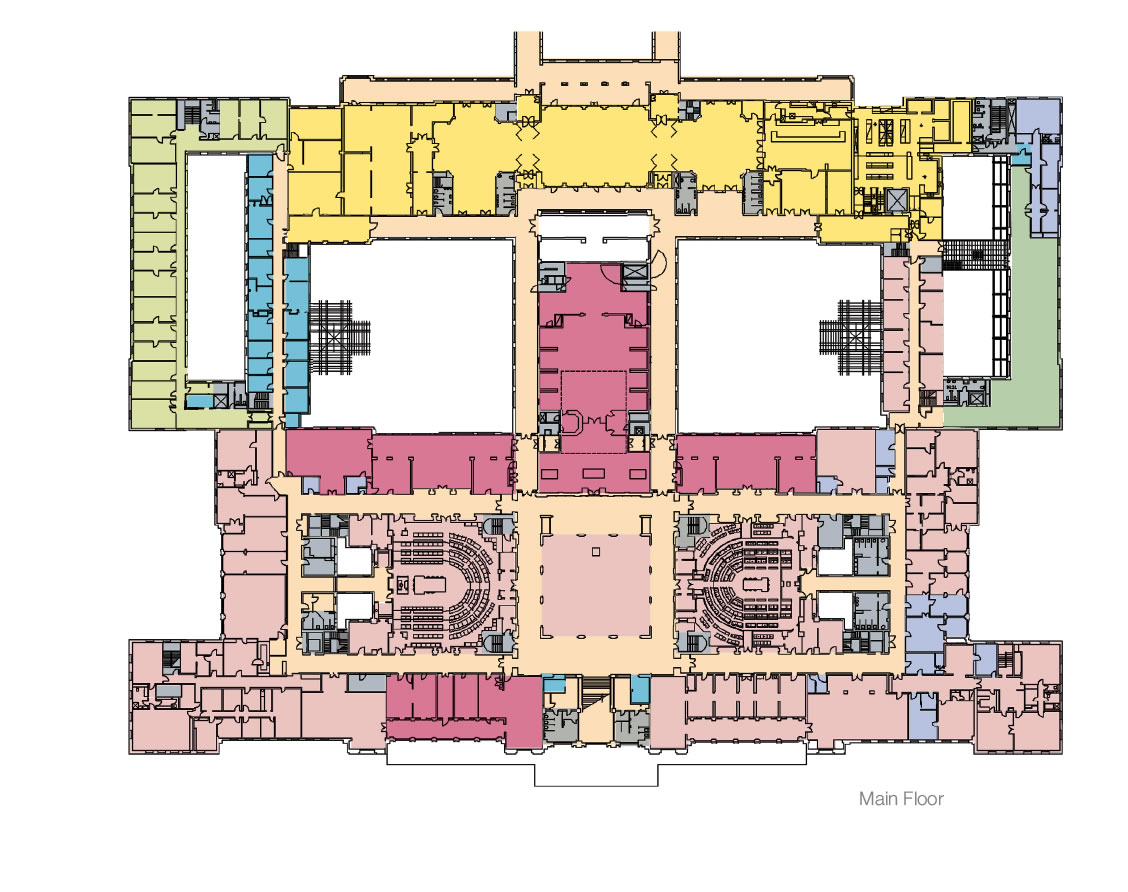 A floorplan showing the 2013 use plan, main floor.