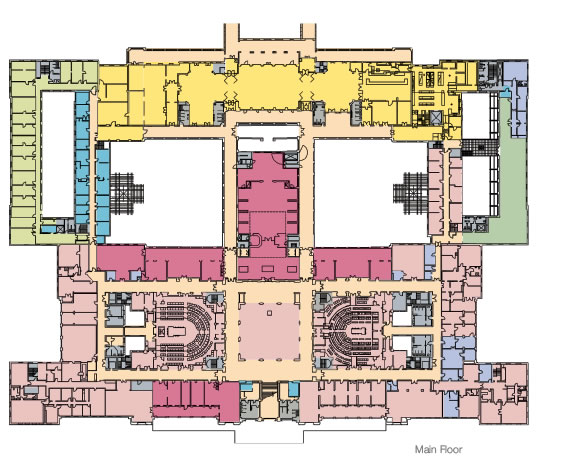 Floorplan of the main floor showing the 2008 use plan.