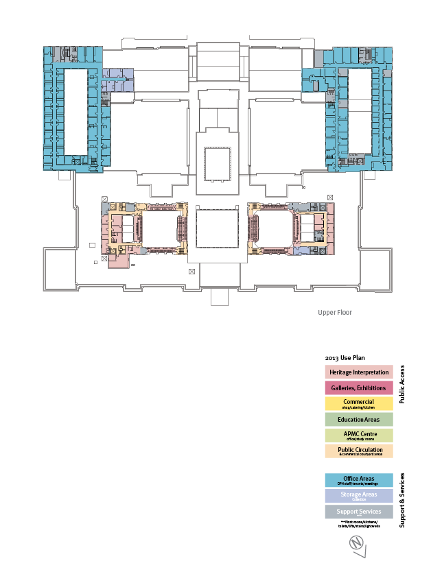 Floorplan of the upper floor showing the 2008 use plan.