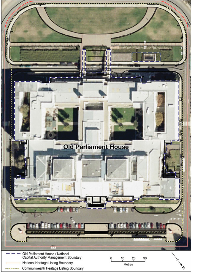 An image showing the boundaries of Old Parliament House and the National Capital Authority.